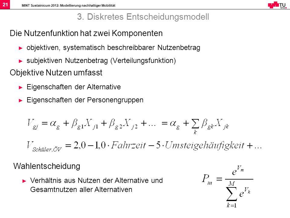 MINT Sustainicum 2012: Modellierung nachhaltiger Mobilität 21 3. Diskretes Entscheidungsmodell Die Nutzenfunktion hat zwei Komponenten objektiven, sys