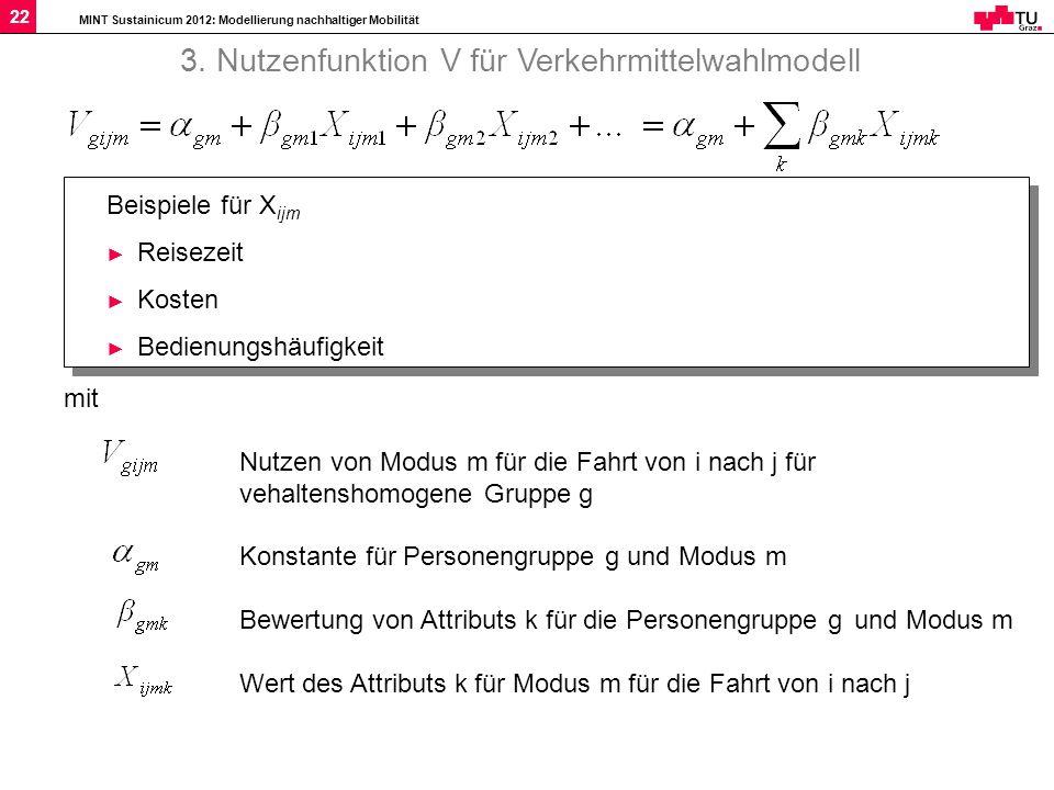 MINT Sustainicum 2012: Modellierung nachhaltiger Mobilität 22 mit Nutzen von Modus m für die Fahrt von i nach j für vehaltenshomogene Gruppe g Konstan