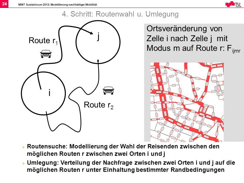 MINT Sustainicum 2012: Modellierung nachhaltiger Mobilität 24 Route r 2 Route r 1 i j Ortsveränderung von Zelle i nach Zelle j mit Modus m auf Route r