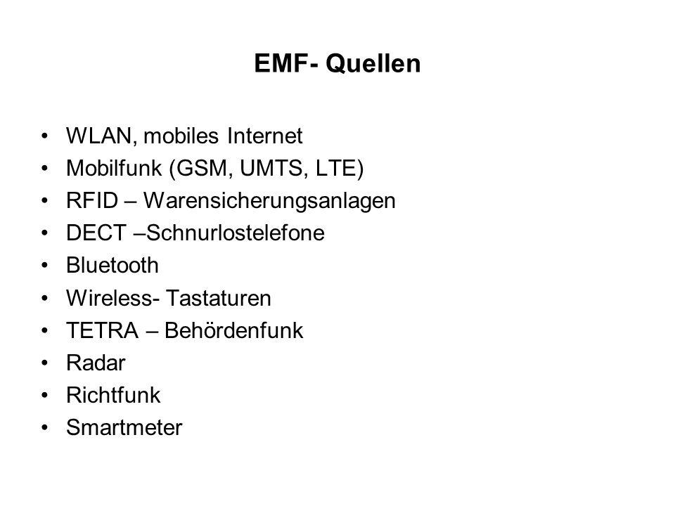 EMF- Quellen WLAN, mobiles Internet Mobilfunk (GSM, UMTS, LTE) RFID – Warensicherungsanlagen DECT –Schnurlostelefone Bluetooth Wireless- Tastaturen TE