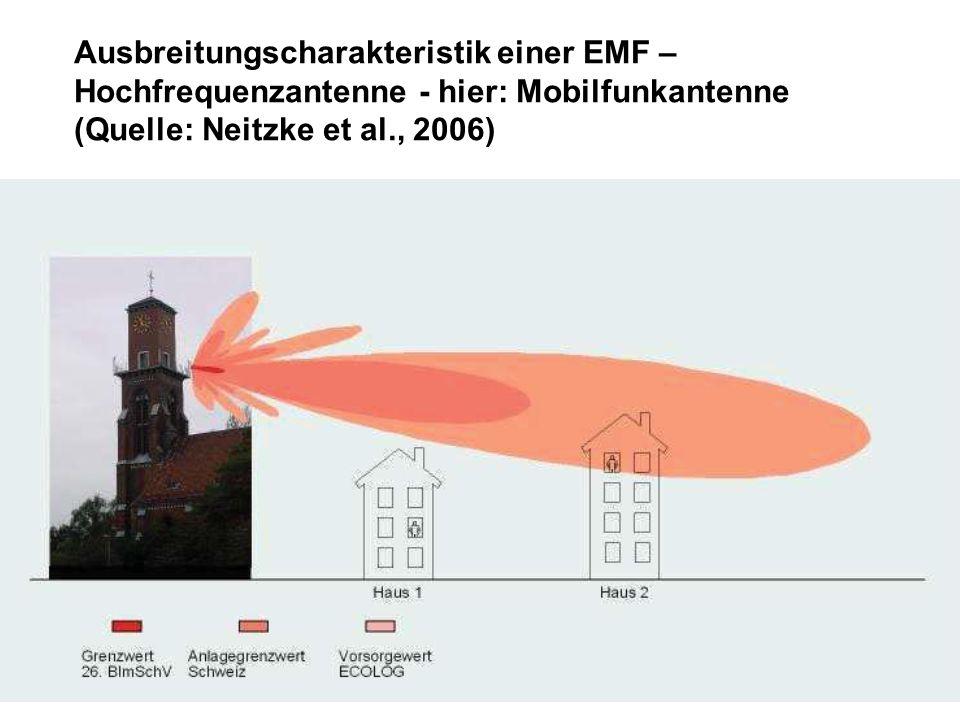 Ausbreitungscharakteristik einer EMF – Hochfrequenzantenne - hier: Mobilfunkantenne (Quelle: Neitzke et al., 2006)