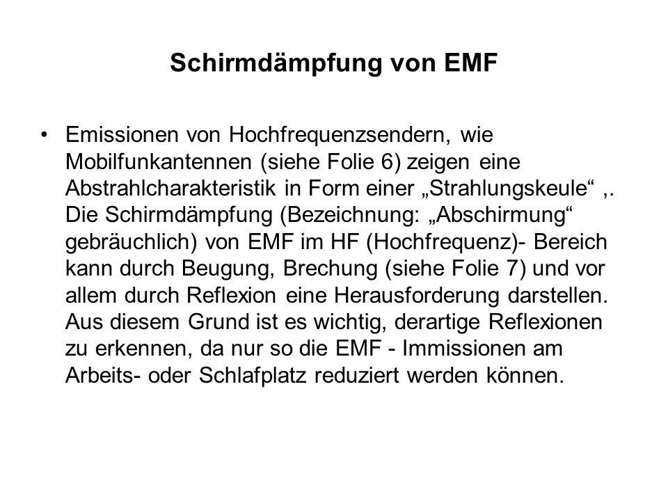 Schirmdämpfung von EMF Emissionen von Hochfrequenzsendern, wie Mobilfunkantennen (siehe Folie 6) zeigen eine Abstrahlcharakteristik in Form einer Stra