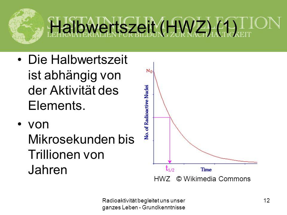 Radioaktivität begleitet uns unser ganzes Leben - Grundkenntnisse 12 Halbwertszeit (HWZ) (1) Die Halbwertszeit ist abhängig von der Aktivität des Elem