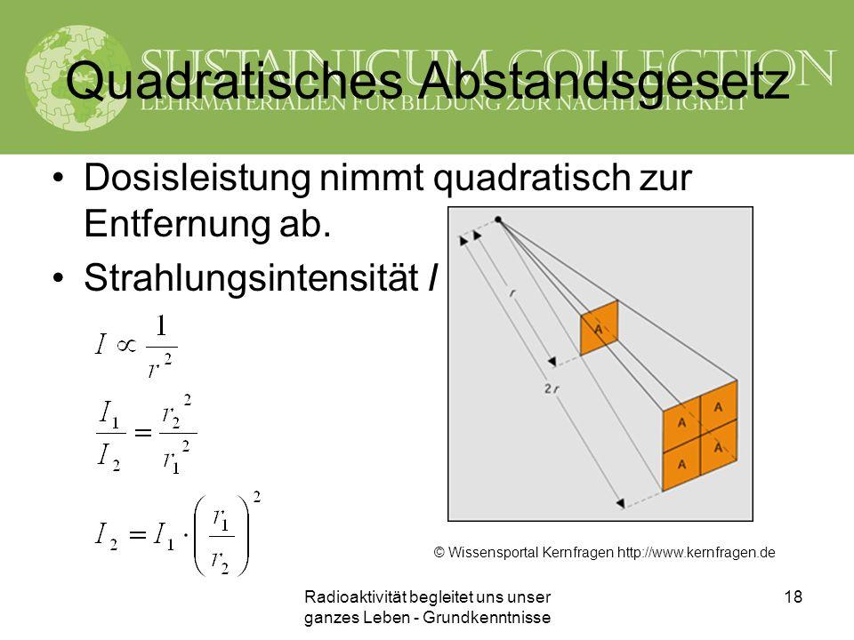 Radioaktivität begleitet uns unser ganzes Leben - Grundkenntnisse 18 Quadratisches Abstandsgesetz Dosisleistung nimmt quadratisch zur Entfernung ab. S