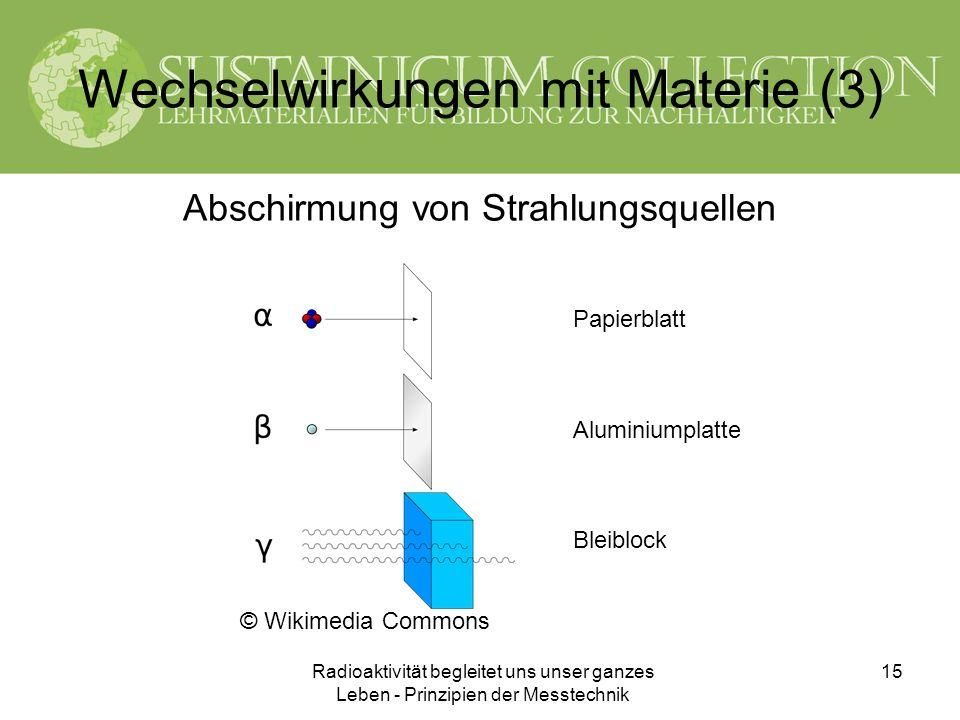 Radioaktivität begleitet uns unser ganzes Leben - Prinzipien der Messtechnik 15 Wechselwirkungen mit Materie (3) Abschirmung von Strahlungsquellen © W