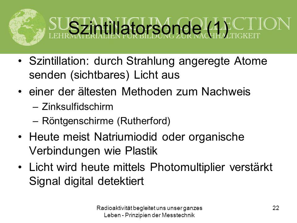 Radioaktivität begleitet uns unser ganzes Leben - Prinzipien der Messtechnik 22 Szintillatorsonde (1) Szintillation: durch Strahlung angeregte Atome s