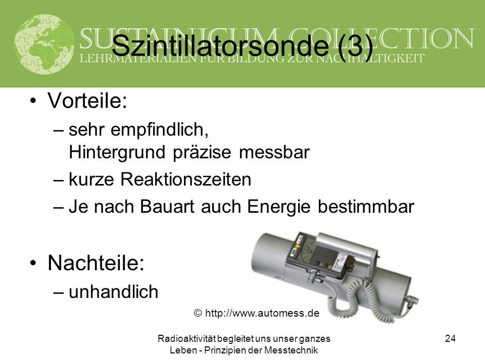 Radioaktivität begleitet uns unser ganzes Leben - Prinzipien der Messtechnik 24 Szintillatorsonde (3) Vorteile: –sehr empfindlich, Hintergrund präzise