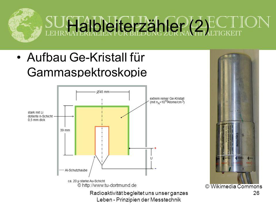 Radioaktivität begleitet uns unser ganzes Leben - Prinzipien der Messtechnik 26 Halbleiterzähler (2) Aufbau Ge-Kristall für Gammaspektroskopie © http: