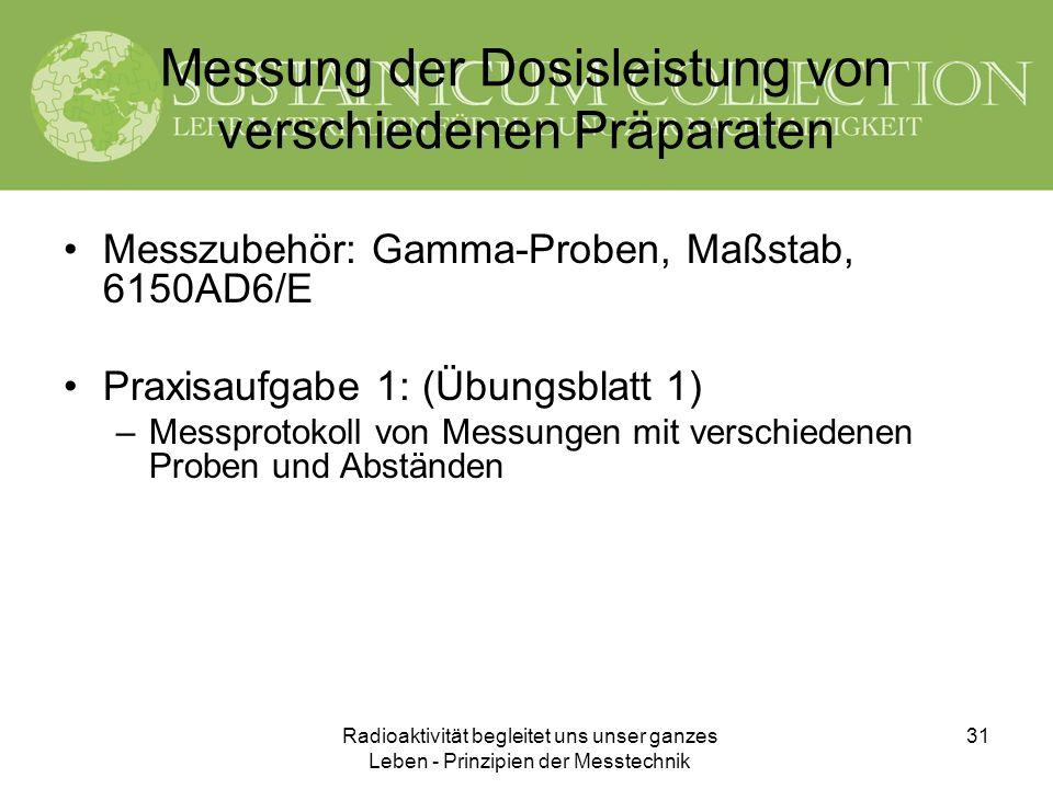 Radioaktivität begleitet uns unser ganzes Leben - Prinzipien der Messtechnik 31 Messung der Dosisleistung von verschiedenen Präparaten Messzubehör: Ga