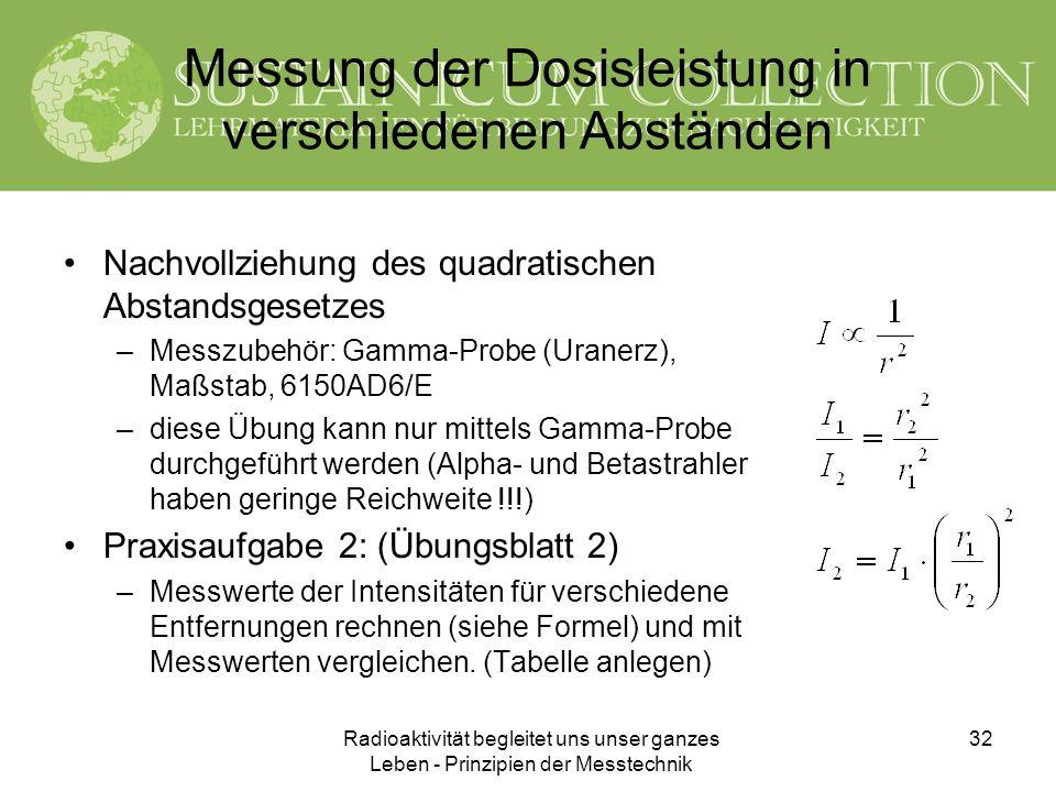 Radioaktivität begleitet uns unser ganzes Leben - Prinzipien der Messtechnik 32 Messung der Dosisleistung in verschiedenen Abständen Nachvollziehung d