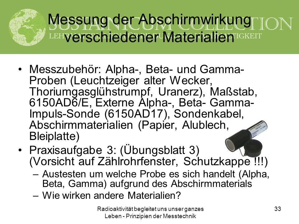 Radioaktivität begleitet uns unser ganzes Leben - Prinzipien der Messtechnik 33 Messung der Abschirmwirkung verschiedener Materialien Messzubehör: Alp
