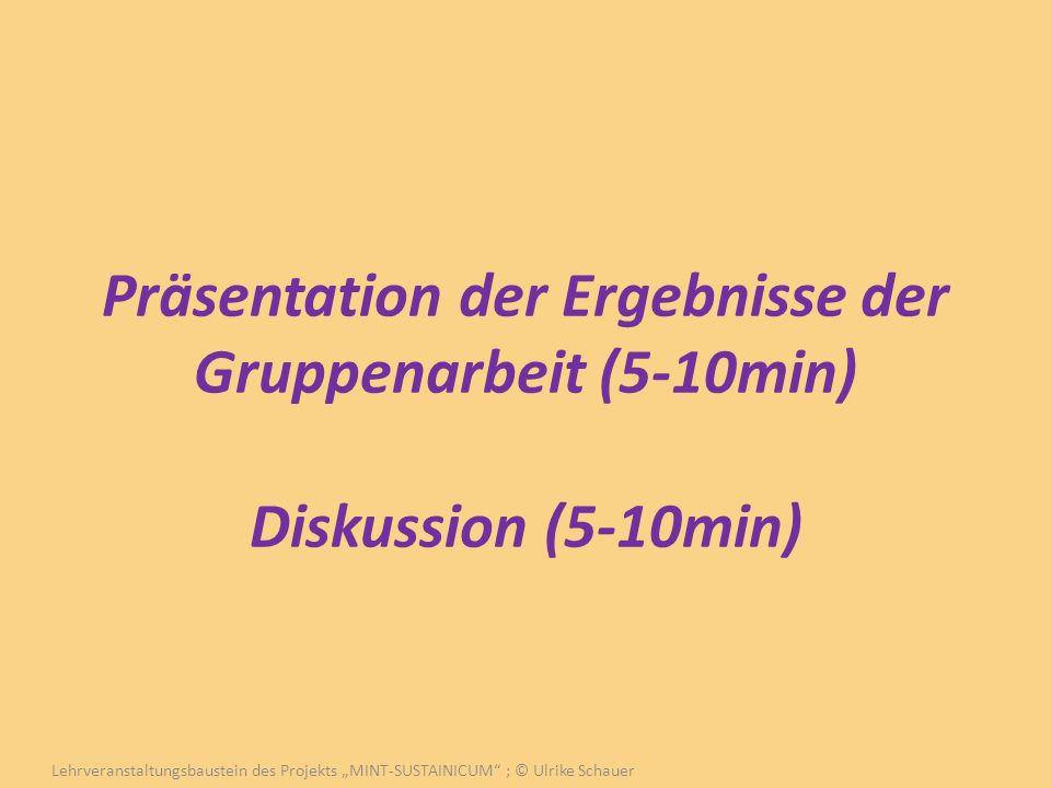 Präsentation der Ergebnisse der Gruppenarbeit (5-10min) Diskussion (5-10min) Lehrveranstaltungsbaustein des Projekts MINT-SUSTAINICUM ; © Ulrike Schau