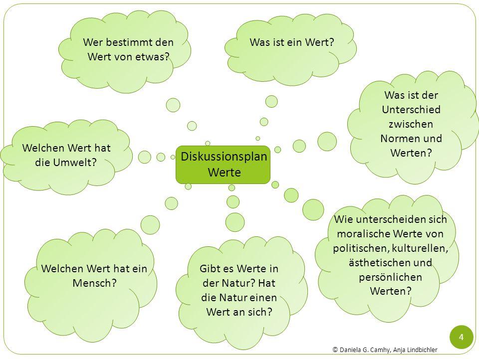 4 Diskussionsplan Werte Was ist ein Wert? Was ist der Unterschied zwischen Normen und Werten? Wie unterscheiden sich moralische Werte von politischen,