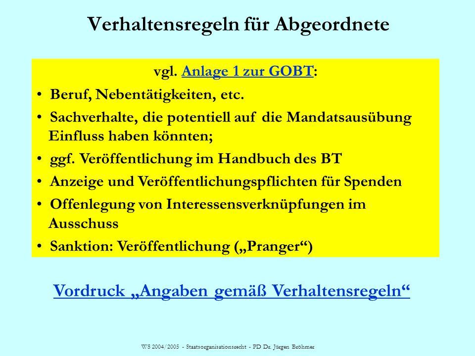 WS 2004/2005 - Staatsorganisationsrecht - PD Dr. Jürgen Bröhmer Verlust der Mitgliedschaft im BT, § 46 Abs. 1 BWahlG (1)Ein Abgeordneter verliert die