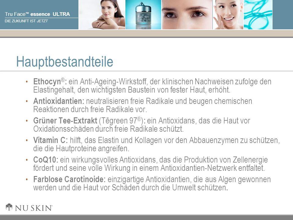 © 2001 Nu Skin International, Inc Tru Face essence ULTRA DIE ZUKUNFT IST JETZT Hauptbestandteile Ethocyn ® : ein Anti-Ageing-Wirkstoff, der klinischen