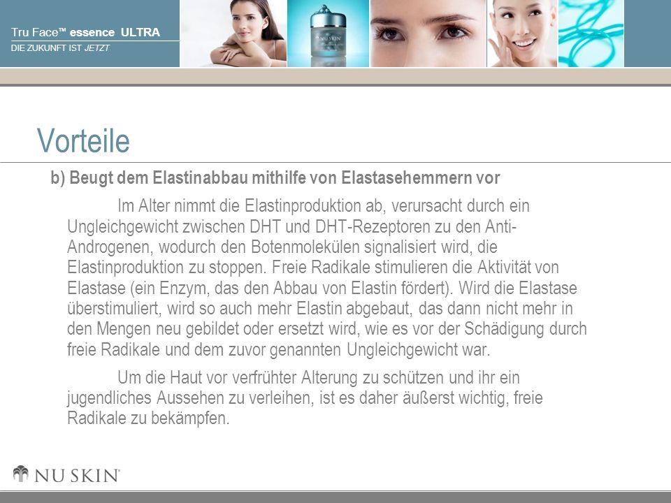 © 2001 Nu Skin International, Inc Tru Face essence ULTRA DIE ZUKUNFT IST JETZT Vorteile b) Beugt dem Elastinabbau mithilfe von Elastasehemmern vor Im