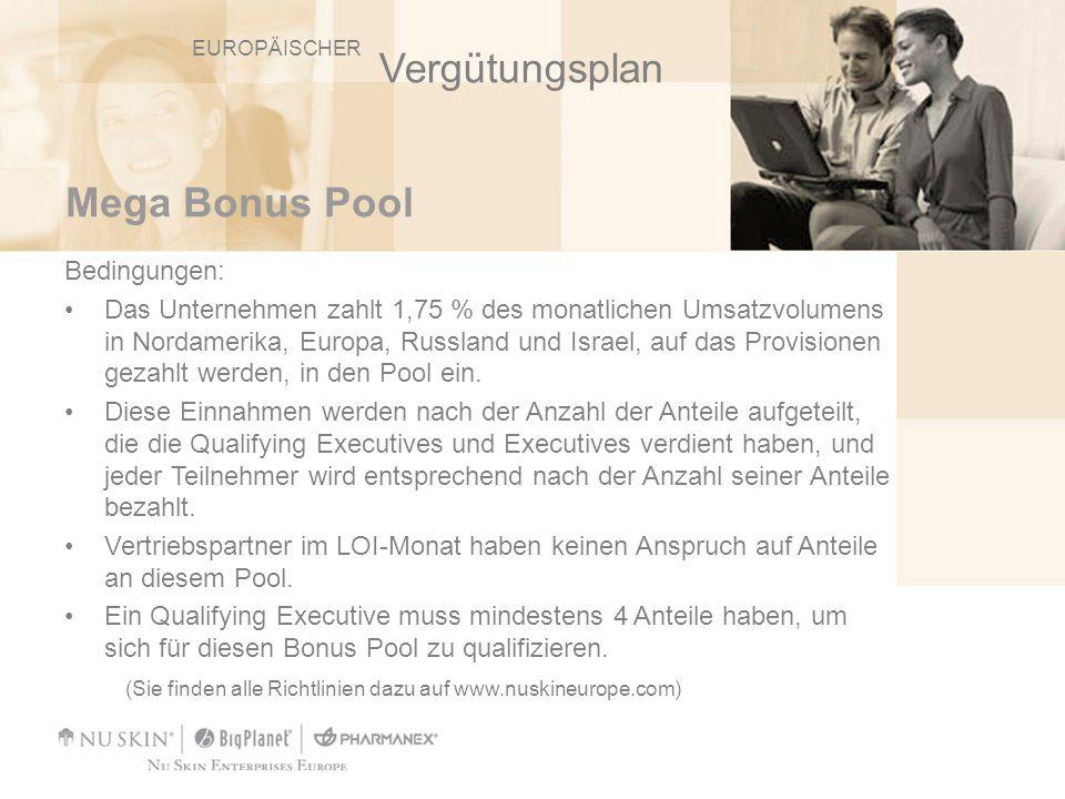 Mega Bonus Pool Bedingungen: Das Unternehmen zahlt 1,75 % des monatlichen Umsatzvolumens in Nordamerika, Europa, Russland und Israel, auf das Provisio