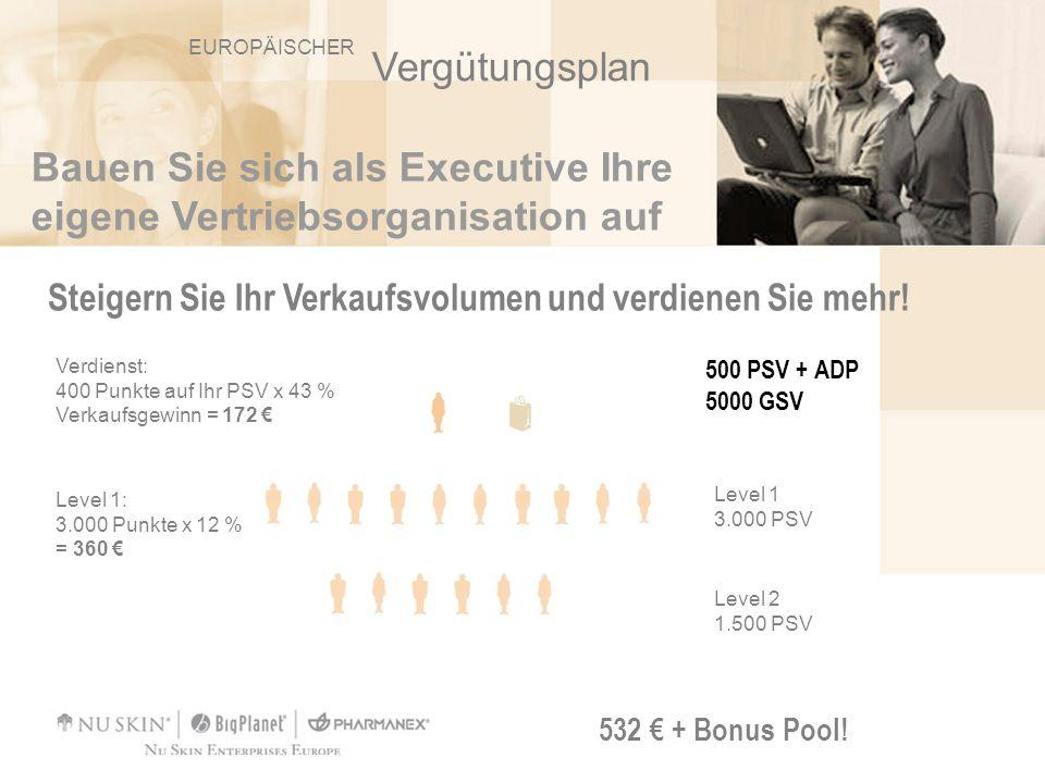 Bauen Sie sich als Executive Ihre eigene Vertriebsorganisation auf Steigern Sie Ihr Verkaufsvolumen und verdienen Sie mehr! 532 + Bonus Pool! Verdiens