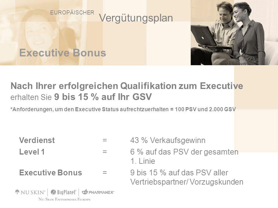 Executive Bonus Nach Ihrer erfolgreichen Qualifikation zum Executive erhalten Sie 9 bis 15 % auf Ihr GSV *Anforderungen, um den Executive Status aufre