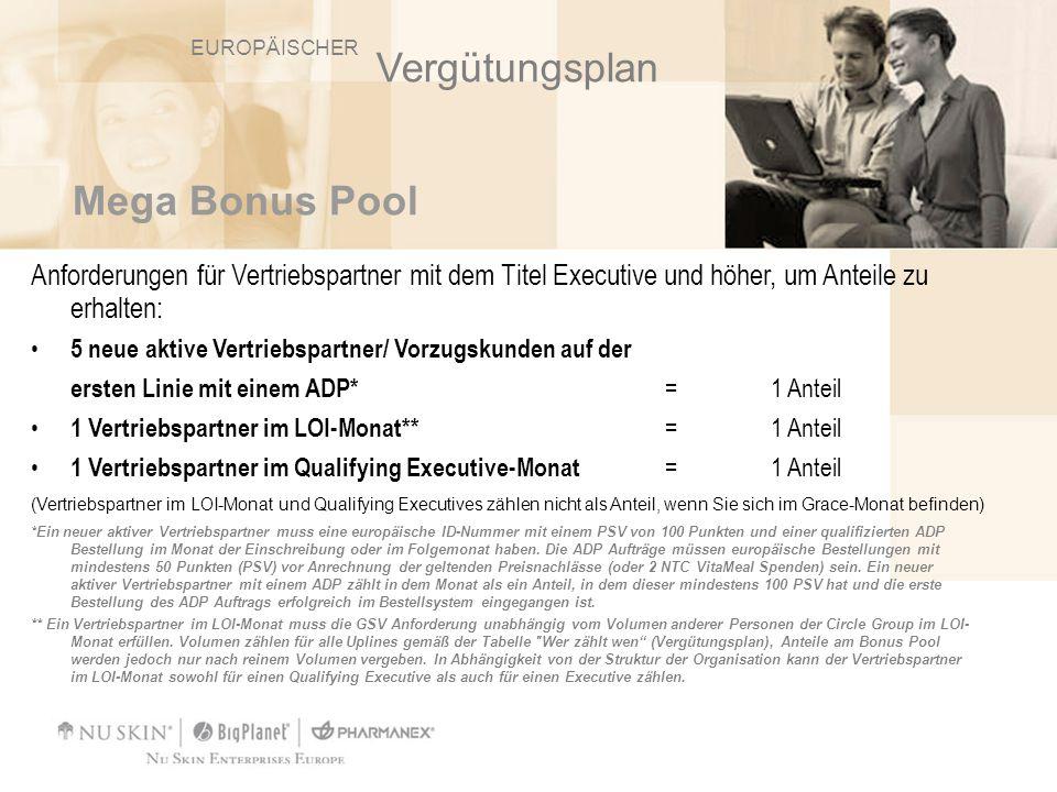 Mega Bonus Pool Anforderungen für Vertriebspartner mit dem Titel Executive und höher, um Anteile zu erhalten: 5 neue aktive Vertriebspartner/ Vorzugsk