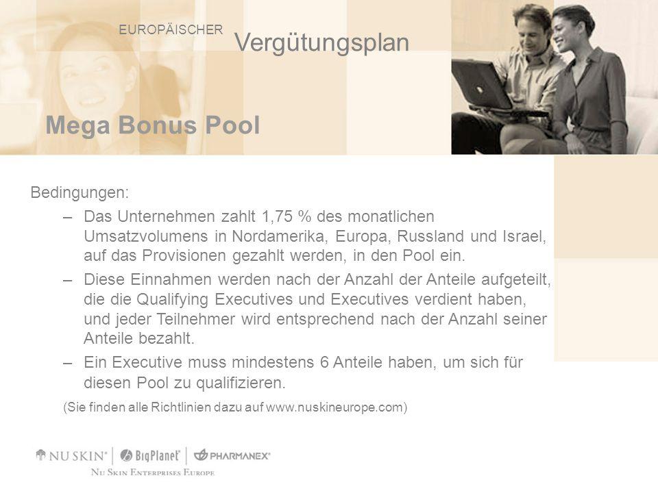 Mega Bonus Pool Bedingungen: –Das Unternehmen zahlt 1,75 % des monatlichen Umsatzvolumens in Nordamerika, Europa, Russland und Israel, auf das Provisi