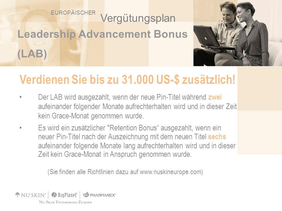 Leadership Advancement Bonus (LAB) Verdienen Sie bis zu 31.000 US-$ zusätzlich! Der LAB wird ausgezahlt, wenn der neue Pin-Titel während zwei aufeinan