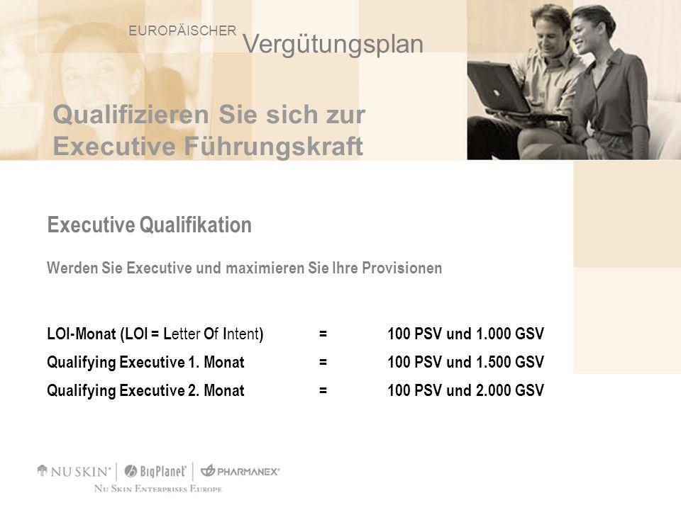 Qualifizieren Sie sich zur Executive Führungskraft Executive Qualifikation Werden Sie Executive und maximieren Sie Ihre Provisionen LOI-Monat (LOI = L