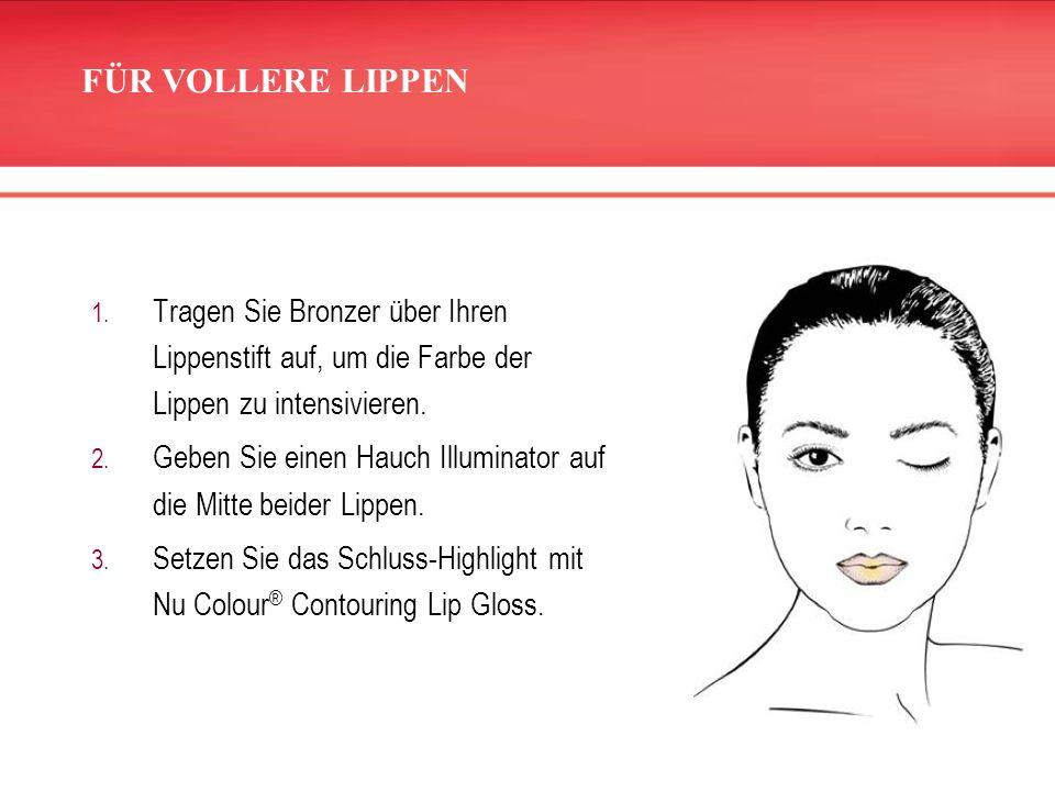 1. Tragen Sie Bronzer über Ihren Lippenstift auf, um die Farbe der Lippen zu intensivieren. 2. Geben Sie einen Hauch Illuminator auf die Mitte beider