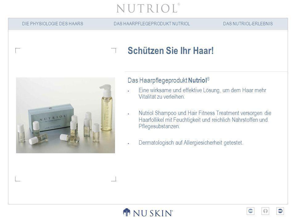 DIE PHYSIOLOGIE DES HAARSDAS HAARPFLEGEPRODUKT NUTRIOLDAS NUTRIOL-ERLEBNIS Wichtigster aktiver Inhaltsstoff: Tricalgoxyl ® Tricalgoxyl ist der wichtigste Inhaltsstoff in Nutriol Shampoo und Nutriol Hair Fitness Treatment.