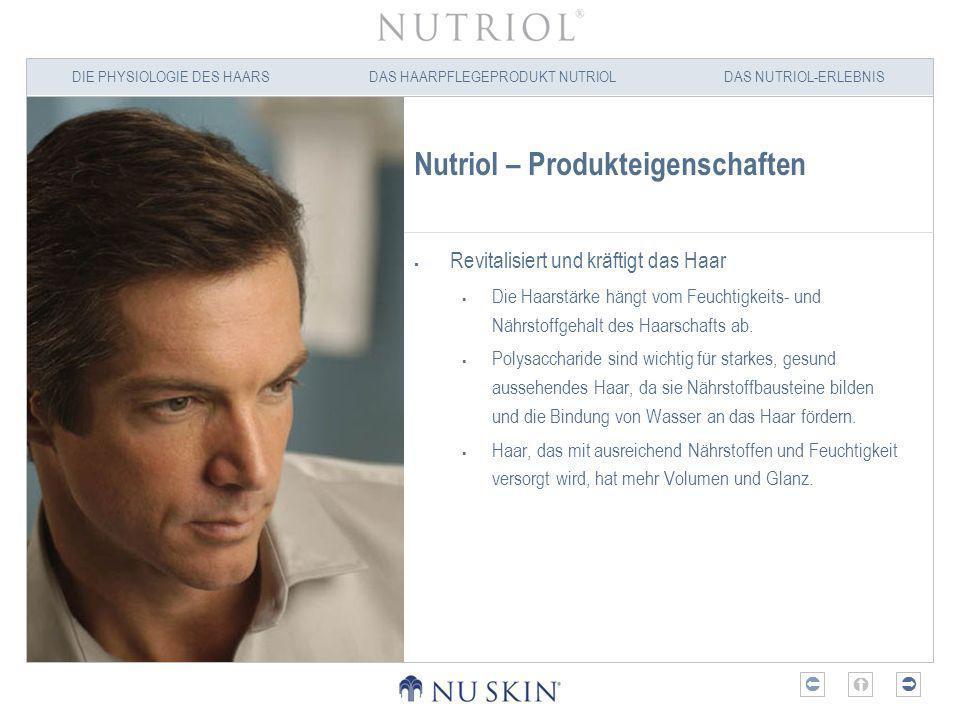 DIE PHYSIOLOGIE DES HAARSDAS HAARPFLEGEPRODUKT NUTRIOLDAS NUTRIOL-ERLEBNIS Nutriol – Produkteigenschaften Liefert essentielle Mineralstoffe und Nährstoffe, die wichtig für gesund aussehendes Haar sind.