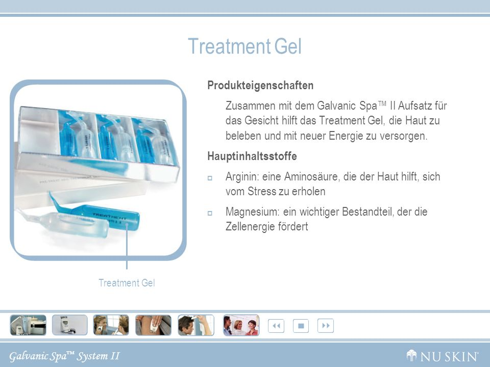 Galvanic Spa System II Treatment Gel Produkteigenschaften Zusammen mit dem Galvanic Spa II Aufsatz für das Gesicht hilft das Treatment Gel, die Haut zu beleben und mit neuer Energie zu versorgen.