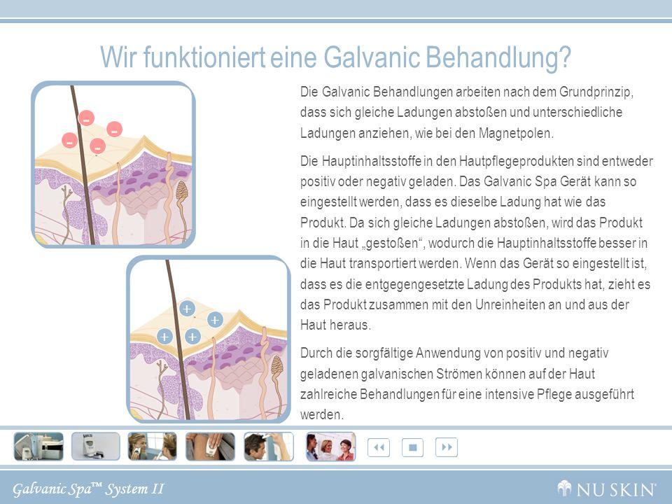 Galvanic Spa System II Während der Vorbehandlung sind das Galvanic Spa Gerät und das Pre- Treatment Gel negativ geladen.