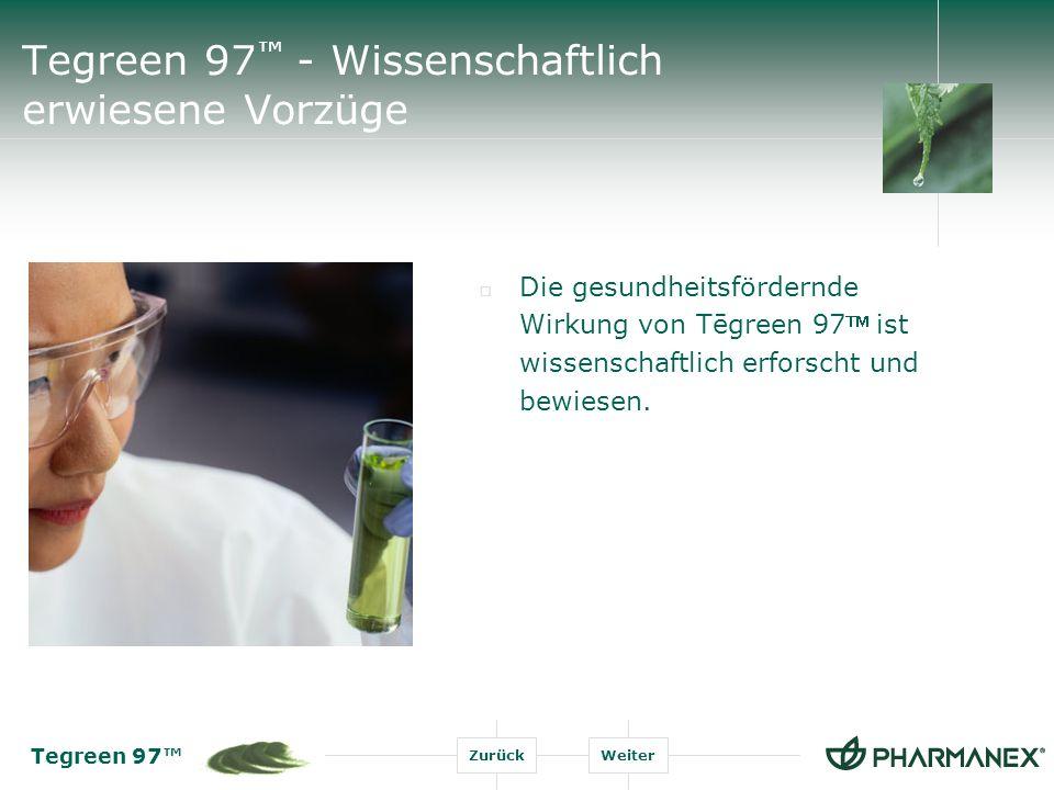 Tegreen 97 ZurückWeiter Tegreen 97 - Wissenschaftlich erwiesene Vorzüge Die gesundheitsfördernde Wirkung von Tēgreen 97 ist wissenschaftlich erforscht und bewiesen.