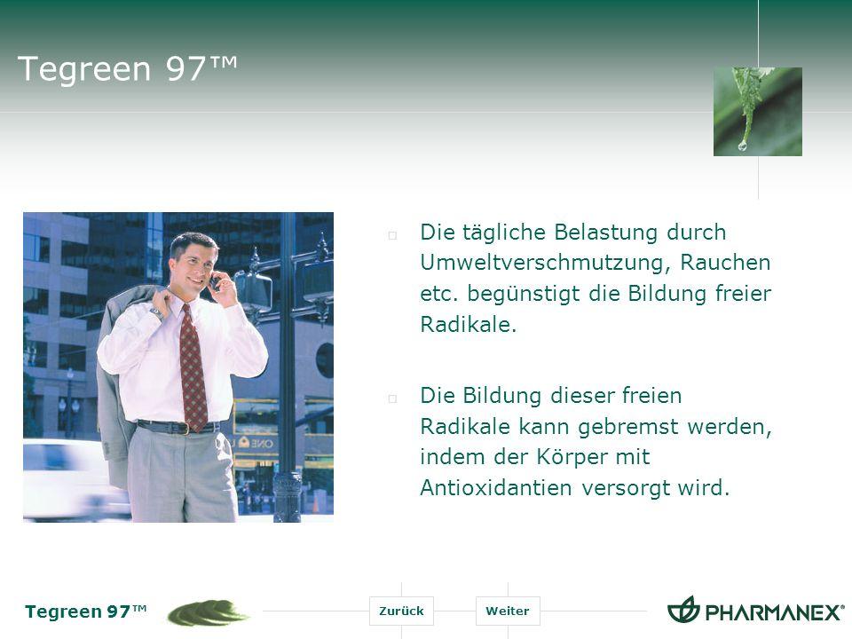 Tegreen 97 ZurückWeiter Tegreen 97 Die tägliche Belastung durch Umweltverschmutzung, Rauchen etc.