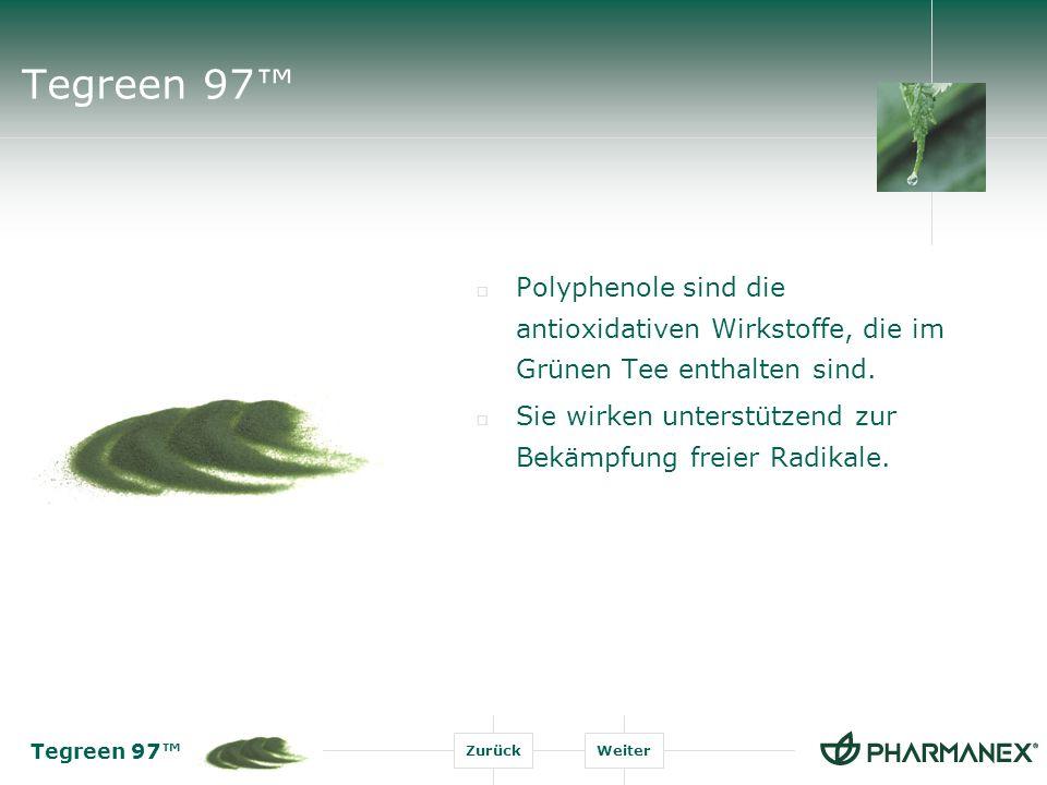 Tegreen 97 ZurückWeiter Tegreen 97 Extrakt aus Grünem Tee Tegreen 97 : 250mg Der Polyphenolgehalt jeder Kapsel entspricht dem Polyphenolgehalt von ca.