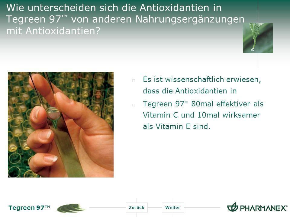 Tegreen 97 ZurückWeiter Es ist wissenschaftlich erwiesen, dass die Antioxidantien in Tegreen 97 80mal effektiver als Vitamin C und 10mal wirksamer als Vitamin E sind.