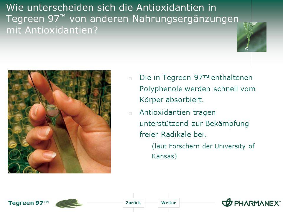 Tegreen 97 ZurückWeiter Wie wirken die Antioxidantien in der normalen Körperfunktion.
