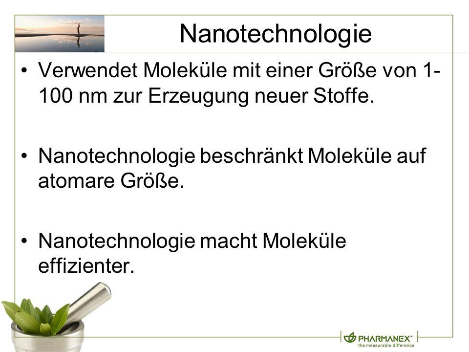 Nanotechnologie Verwendet Moleküle mit einer Größe von 1- 100 nm zur Erzeugung neuer Stoffe.