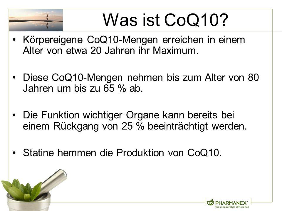 Was ist CoQ10.Körpereigene CoQ10-Mengen erreichen in einem Alter von etwa 20 Jahren ihr Maximum.