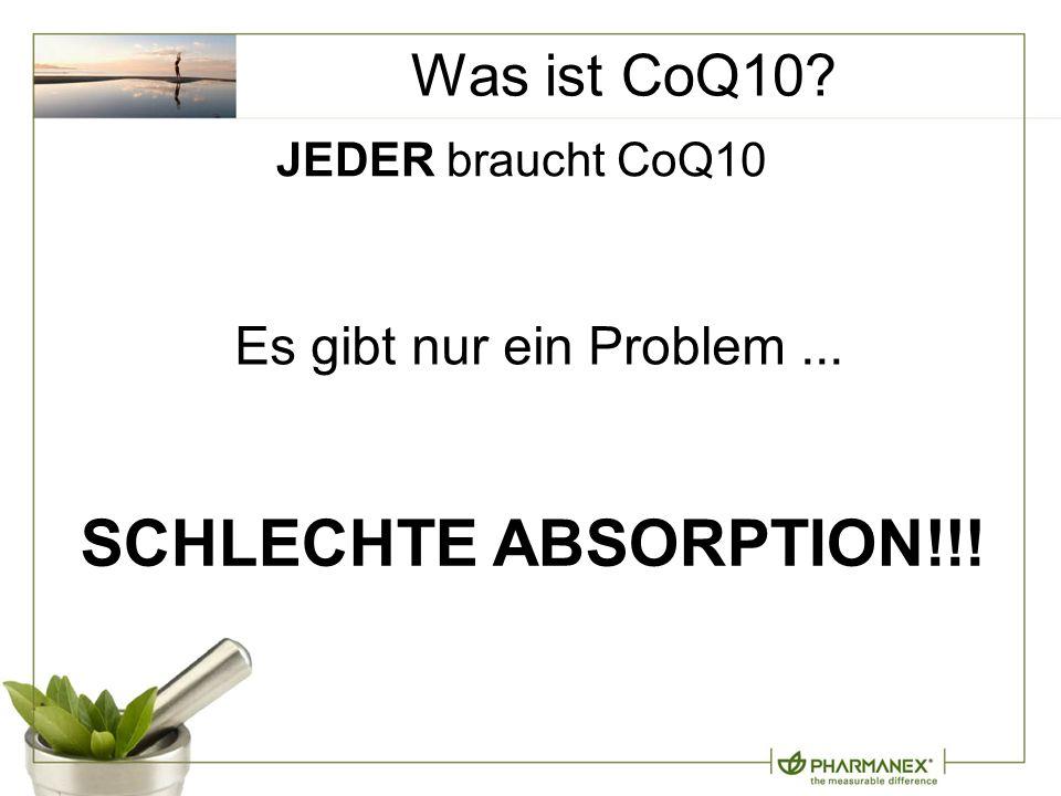 Was ist CoQ10? SCHLECHTE ABSORPTION!!! JEDER braucht CoQ10 Es gibt nur ein Problem...