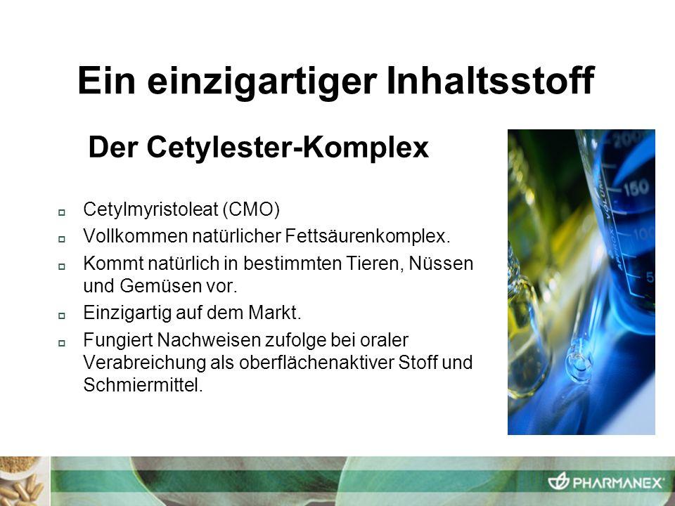 Cetylmyristoleat (CMO) Vollkommen natürlicher Fettsäurenkomplex. Kommt natürlich in bestimmten Tieren, Nüssen und Gemüsen vor. Einzigartig auf dem Mar