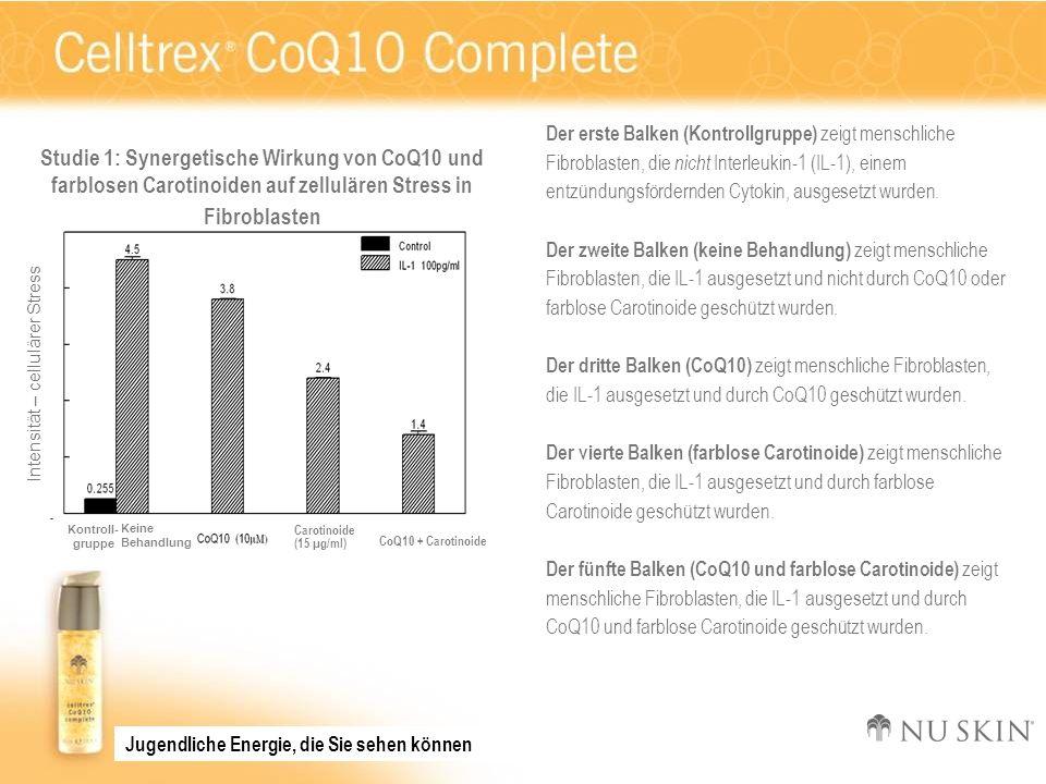 Intensität – cellulärer Stress KeineBehandlung Kontroll- gruppe Studie 1: Synergetische Wirkung von CoQ10 und farblosen Carotinoiden auf zellulären St