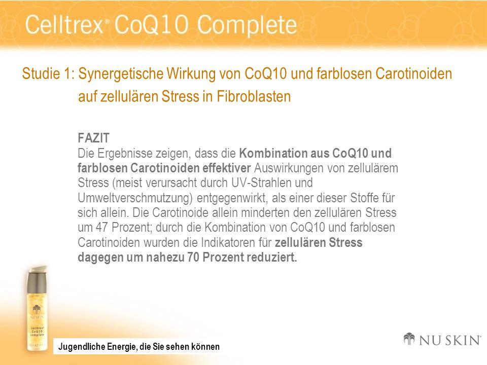 FAZIT Die Ergebnisse zeigen, dass die Kombination aus CoQ10 und farblosen Carotinoiden effektiver Auswirkungen von zellulärem Stress (meist verursacht