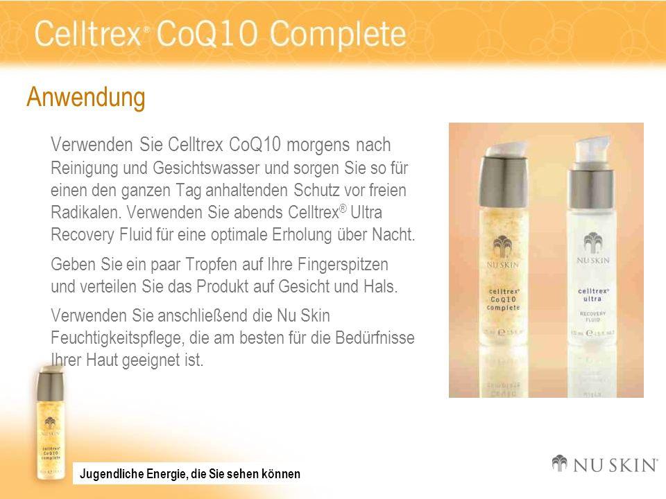 Anwendung Verwenden Sie Celltrex CoQ10 morgens nach Reinigung und Gesichtswasser und sorgen Sie so für einen den ganzen Tag anhaltenden Schutz vor fre