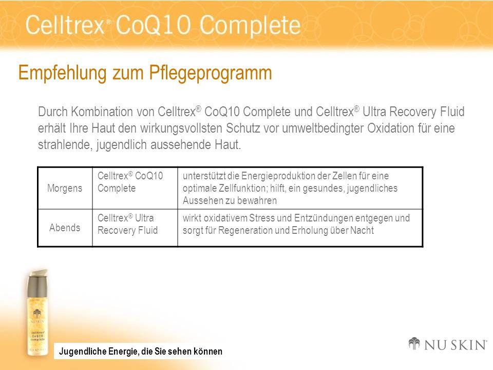 Empfehlung zum Pflegeprogramm Durch Kombination von Celltrex ® CoQ10 Complete und Celltrex ® Ultra Recovery Fluid erhält Ihre Haut den wirkungsvollste
