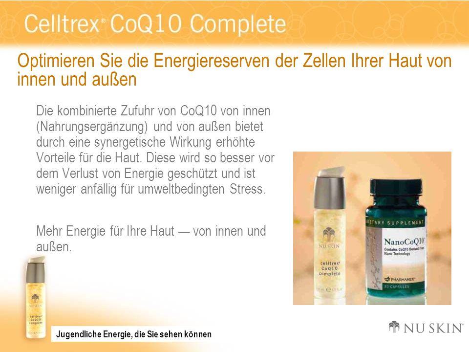 Optimieren Sie die Energiereserven der Zellen Ihrer Haut von innen und außen Die kombinierte Zufuhr von CoQ10 von innen (Nahrungsergänzung) und von au
