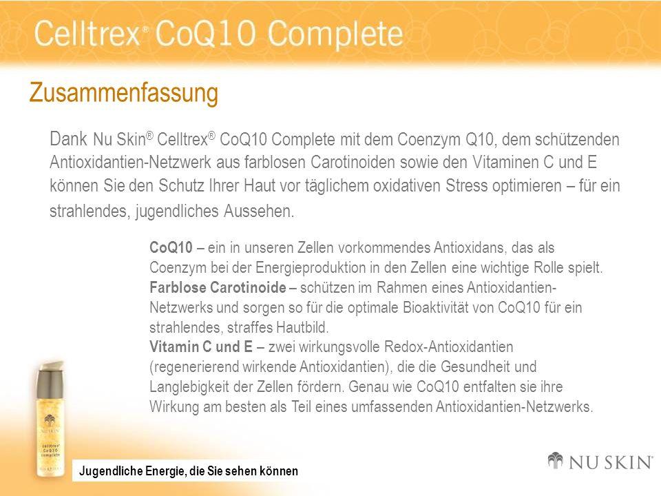 Zusammenfassung Dank Nu Skin ® Celltrex ® CoQ10 Complete mit dem Coenzym Q10, dem schützenden Antioxidantien-Netzwerk aus farblosen Carotinoiden sowie