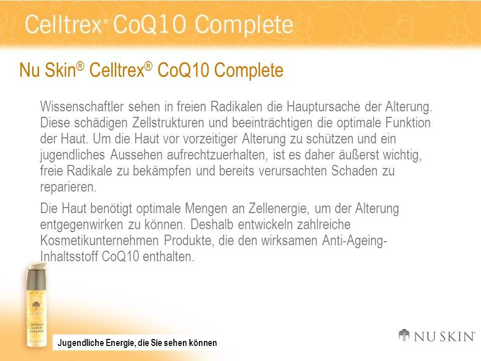 Nu Skin ® Celltrex ® CoQ10 Complete Wissenschaftler sehen in freien Radikalen die Hauptursache der Alterung. Diese schädigen Zellstrukturen und beeint