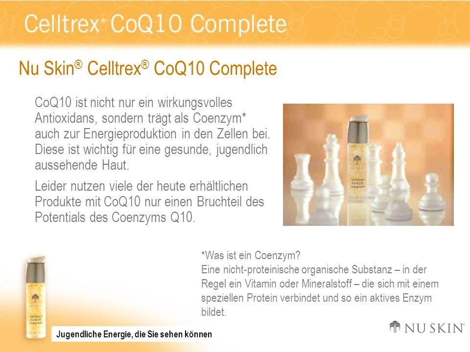 Zusammenfassung Dank Nu Skin ® Celltrex ® CoQ10 Complete mit dem Coenzym Q10, dem schützenden Antioxidantien-Netzwerk aus farblosen Carotinoiden sowie den Vitaminen C und E können Sie den Schutz Ihrer Haut vor täglichem oxidativen Stress optimieren – für ein strahlendes, jugendliches Aussehen.