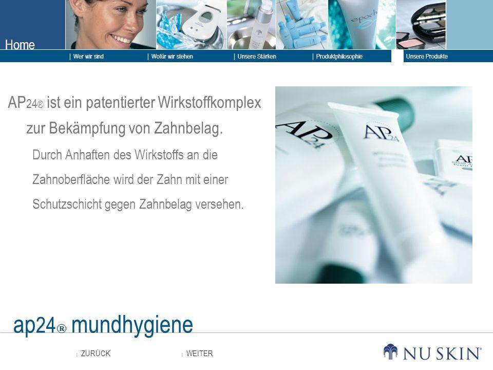 Home WEITER ZURÜCK Wer wir sind Unsere Stärken Produktphilosophie Unsere Produkte Wofür wir stehen ap 24 mundhygiene AP 24 ® ist ein patentierter Wirk